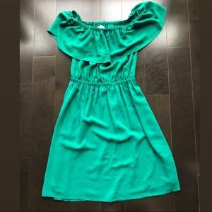 Green Babaton off the shoulder dress